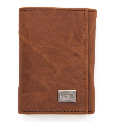 LSU Tigers Brown Tri Fold Leather Wallet