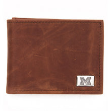 Load image into Gallery viewer, Michigan Wolverines Brown Bi Fold Leather Wallet
