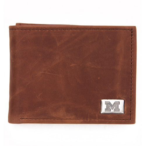 Michigan Wolverines Brown Bi Fold Leather Wallet