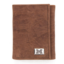 Load image into Gallery viewer, Michigan Wolverines Brown Tri Fold Leather Wallet