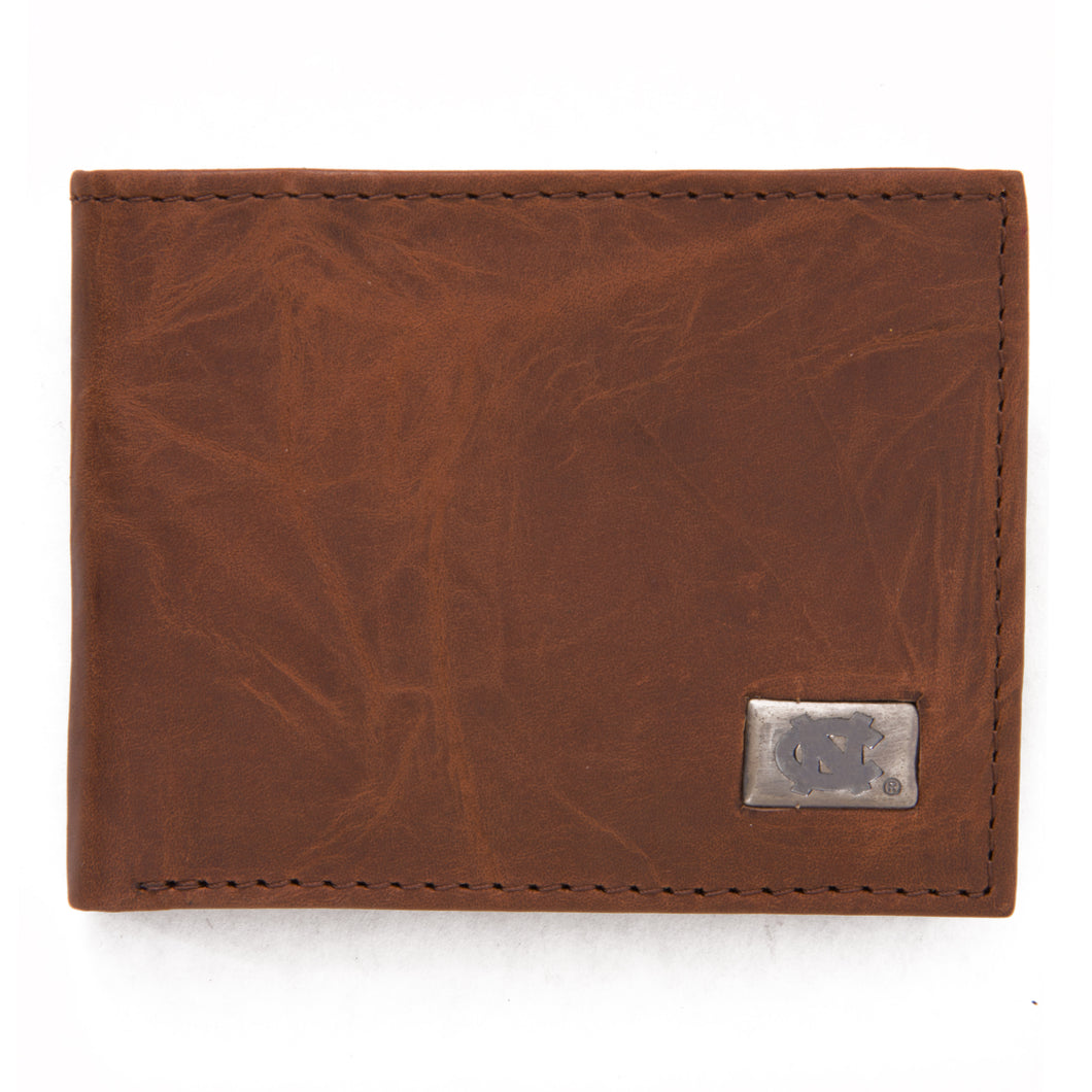 North Carolina Tar Heels Brown Bi Fold Leather Wallet