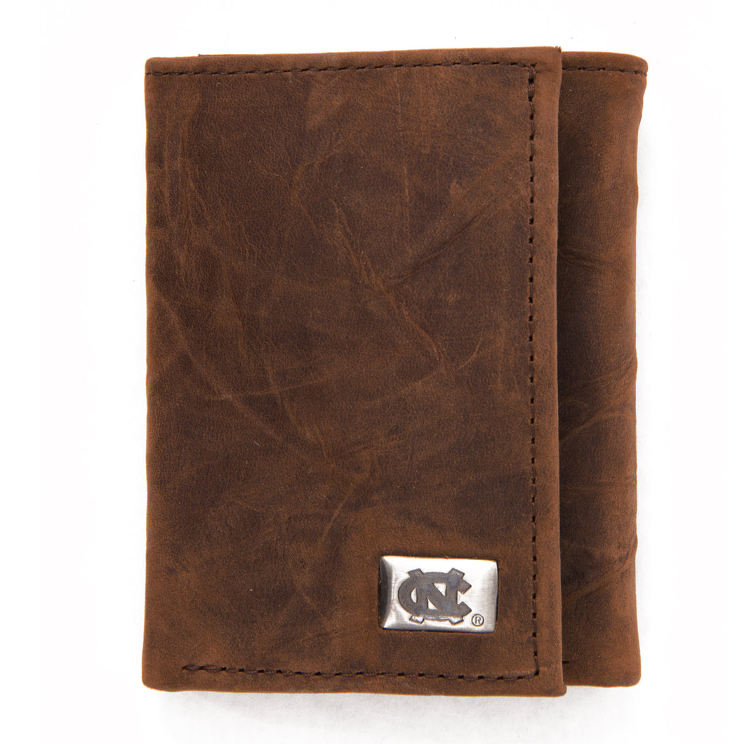 North Carolina Tar Heels Brown Tri Fold Leather Wallet