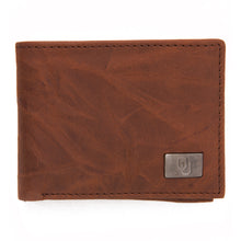 Load image into Gallery viewer, Oklahoma Sooners Brown Bi Fold Leather Wallet