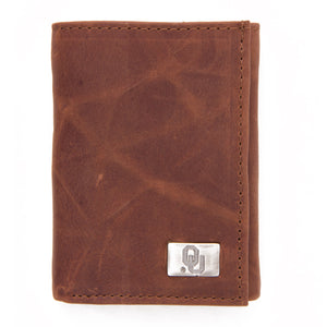 Oklahoma Sooners Brown Tri Fold Leather Wallet