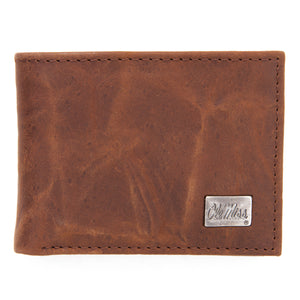 Ole Miss Rebels Brown Bi Fold Leather Wallet