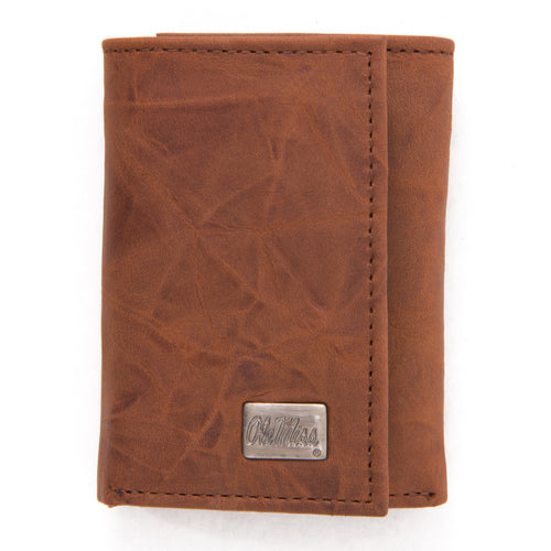 Ole Miss Rebels Brown Tri Fold Leather Wallet