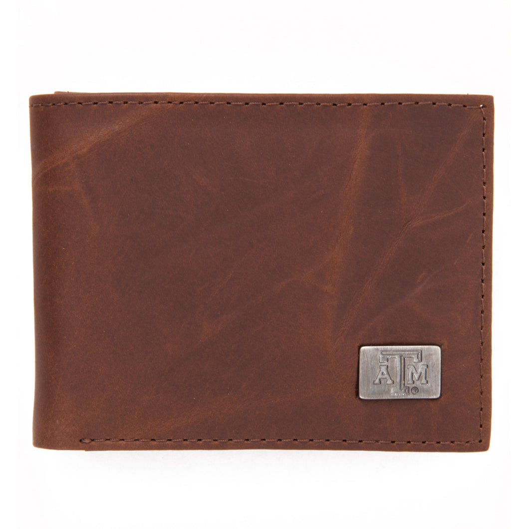 Texas A&M Aggies Brown Bi Fold Leather Wallet
