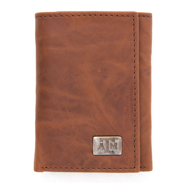 Texas A&M Aggies Brown Tri Fold Leather Wallet