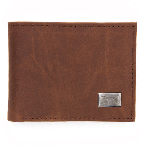Texas Longhorns Brown Bi Fold Leather Wallet