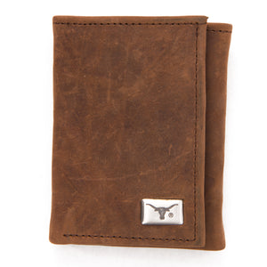 Texas Longhorns Brown Tri Fold Leather Wallet