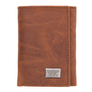 Virginia Tech Hokies Brown Tri Fold Leather Wallet