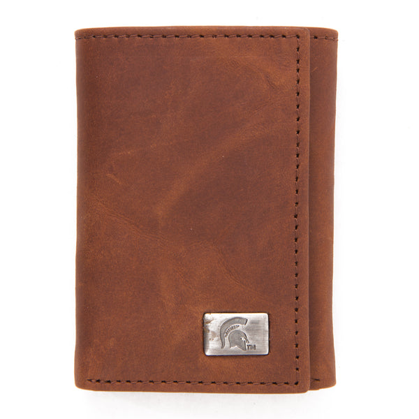 Michigan State Spartans Brown Tri Fold Leather Wallet