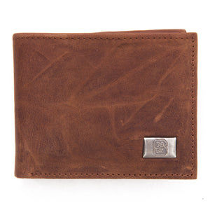 NC State Wolfpack Brown Bi Fold Leather Wallet
