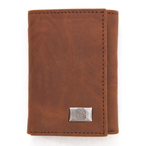 NC State Wolfpack Brown Tri Fold Leather Wallet