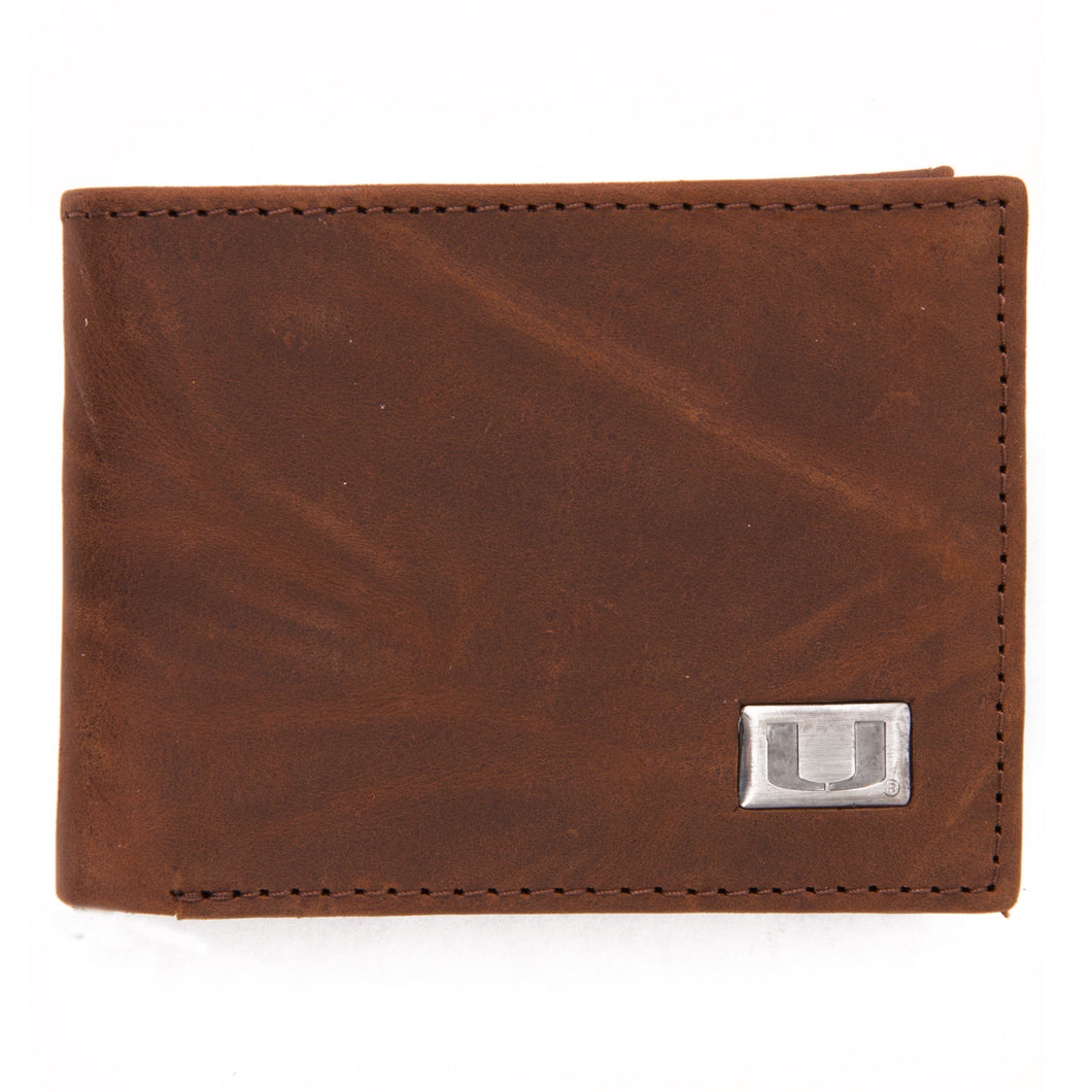 Miami Hurricanes Brown Bi Fold Leather Wallet