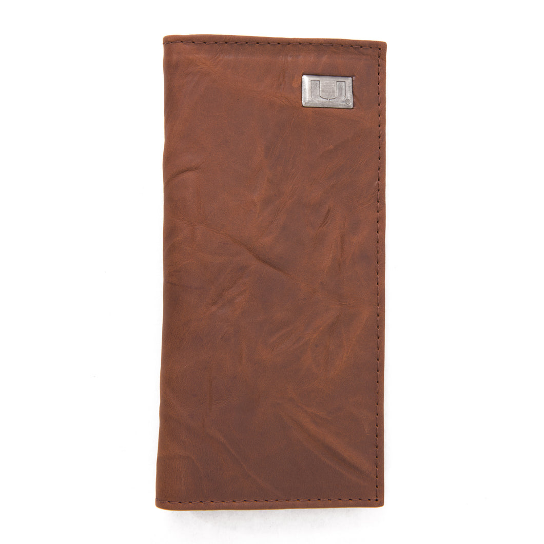 Miami Hurricanes Brown Secretary Leather Wallet