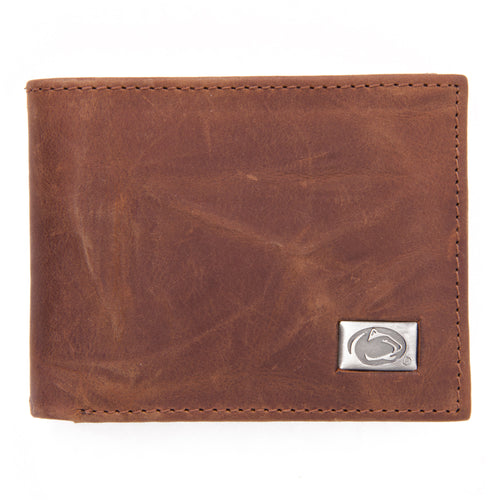 Penn State Nittany Lions Brown Bi Fold Leather Wallet