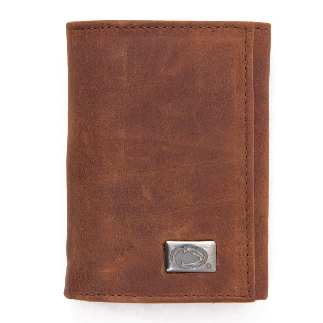 Penn State Nittany Lions Brown Tri Fold Leather Wallet