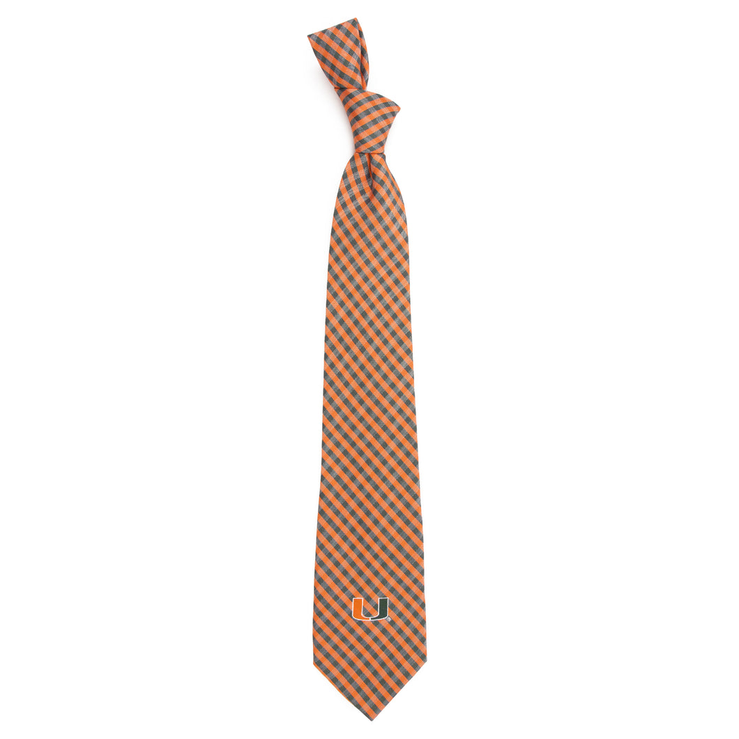 Miami Hurricanes Tie Gingham