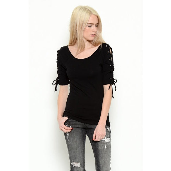 Arm Side Lace Up Top