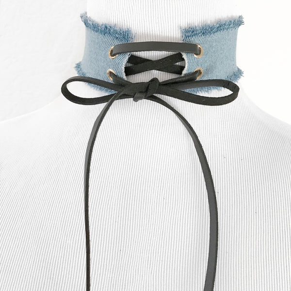 Denim Lace Choker