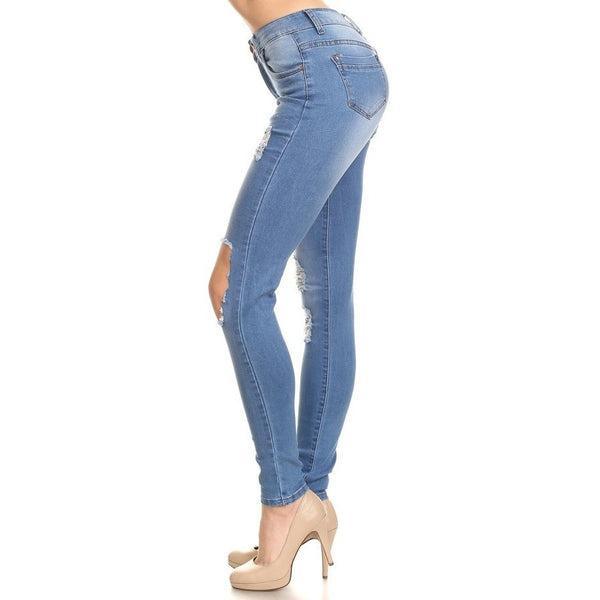 High Waisted Knee Cutout Skinny Jean