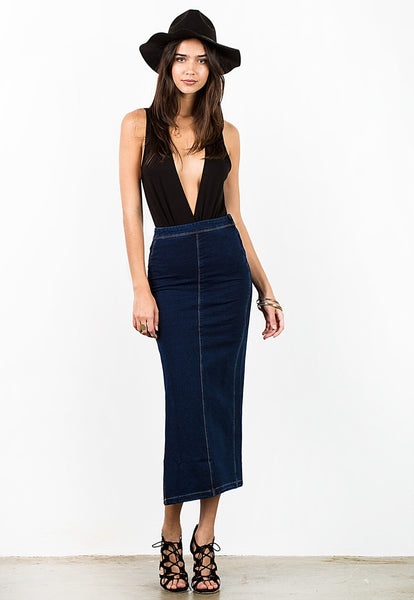 KNIT DENIM SIDE SLIP MAXI