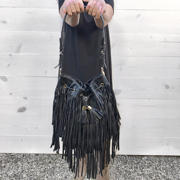 Fringed Bucket Tote Bag
