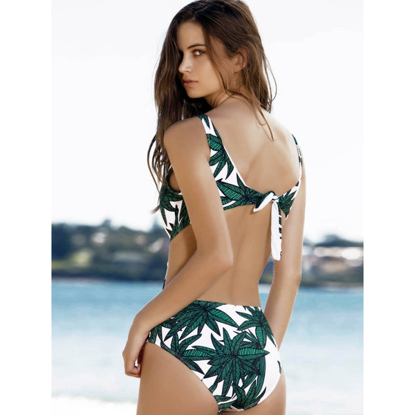 Palm Tree Self Tie Backless Deep V Neck Plunge Swimsuit