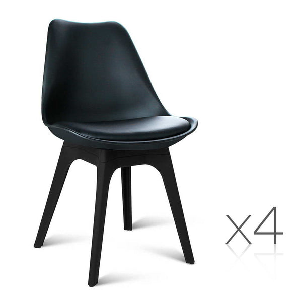 set of 4 replica eames dsw pu leather chair black jvees
