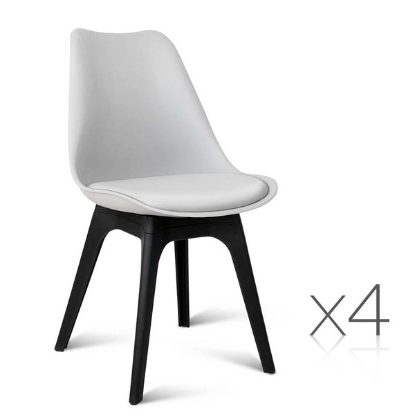 set of 4 replica eames dsw pu leather chair white jvees