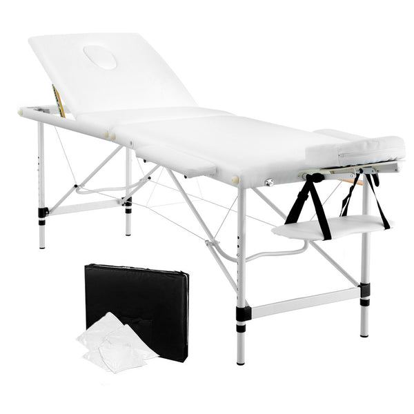 Enjoyable Portable Aluminium 3 Fold Massage Table Chair Bed White 60Cm Creativecarmelina Interior Chair Design Creativecarmelinacom