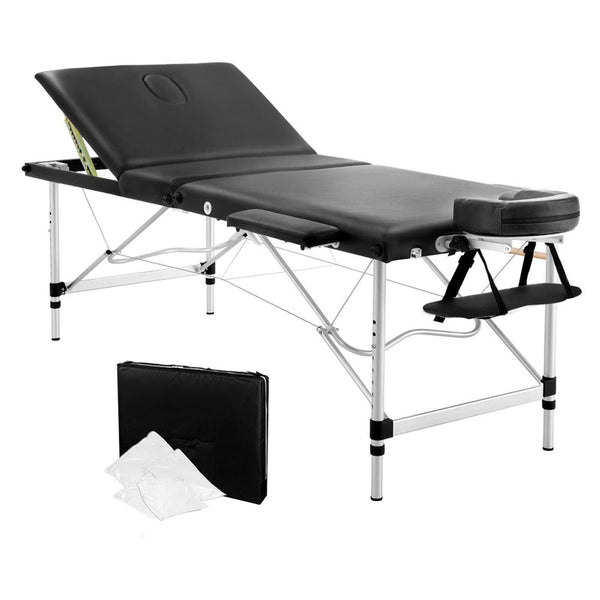 Swell Portable Aluminium 3 Fold Massage Table Chair Bed Black 75Cm Creativecarmelina Interior Chair Design Creativecarmelinacom