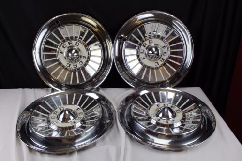 1950's Ford Chrome and Paint Hubcaps Set of 4