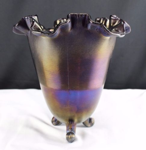 Fenton Amethyst Glass Three Footed Vase Ruffled Edge Groves and Pillow Pattern