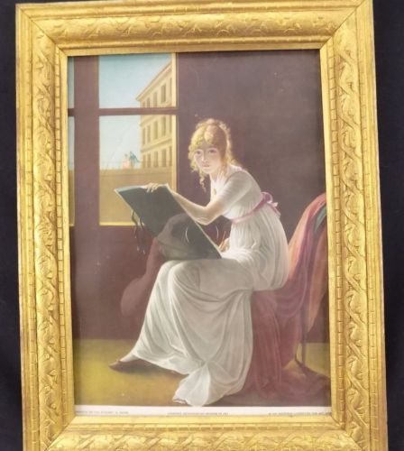 1937 ART PRINT Mlle Charlotte Du Val D'ognes by Jacques Louis David, Framed Gold