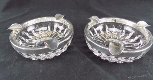 Ashtrays Clear Glass with Silver Rims and 3 Cig Holders