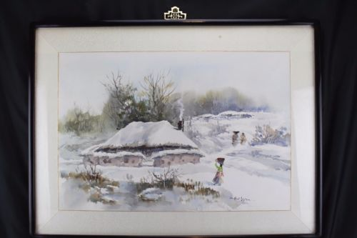 Mid Century Asian, Korea Watercolor Painting Winter Landscape Hal Won