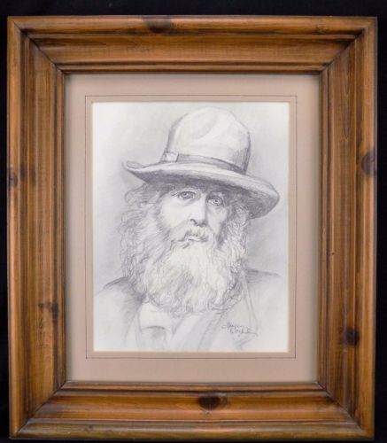 Original Fine Art Pencil Drawing Photograph of Walt Whitman 1862 by Holly Cozad