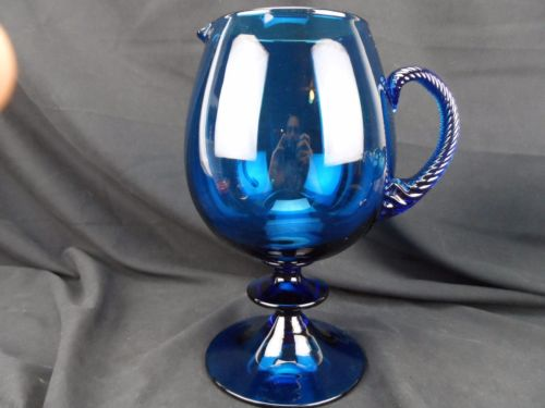 Large Blue Art Glass Pitcher Footed with Twisted Applied Handle Italy?