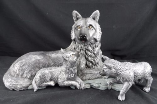 Wolf Family Statue, Figurine, Ceramic She Wolf and Two Pups,