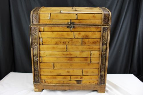 Antique Bamboo Chest Asian Brass Hardware Home Decor Storage