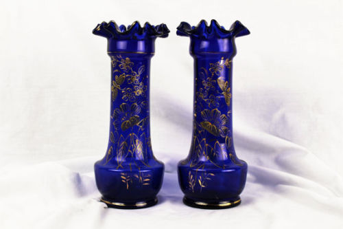 Antique Bohemian-Cobalt Blue Mantle Vases with Gold Applied Enamel 1850