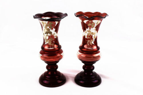 Antique Bohemian Mantle Vases-Cased Red Satin Glass Circa 1850
