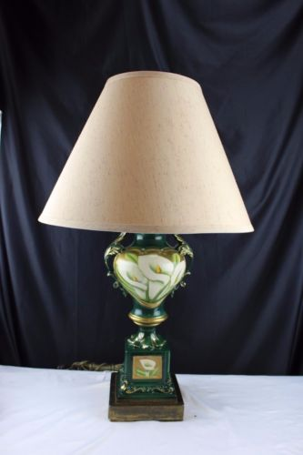 Vintage Ceramic Table Lamp Victorian Urn Shaped with White Calalylies Handpainte
