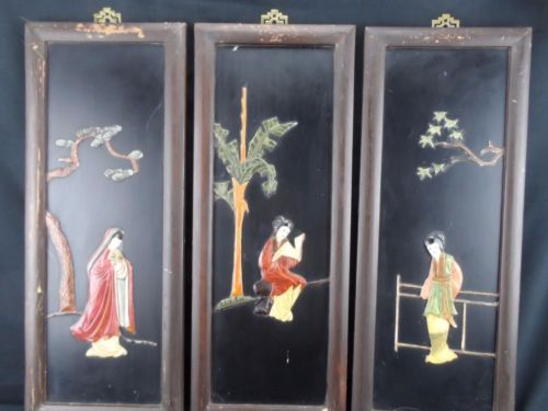 1950's Asian Wall Decor, Plaques Carved Stone and Coral, Geisha Figures