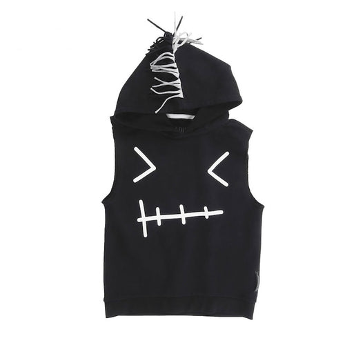 Rebel Sleeveless Hoodie Black