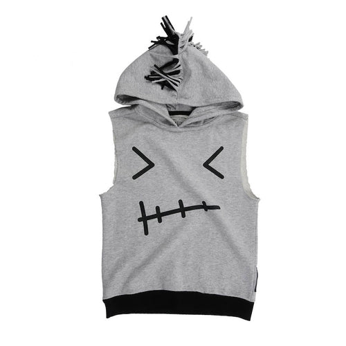 Rebel Sleeveless Hoodie Grey
