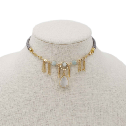 Teardrop Choker Grey