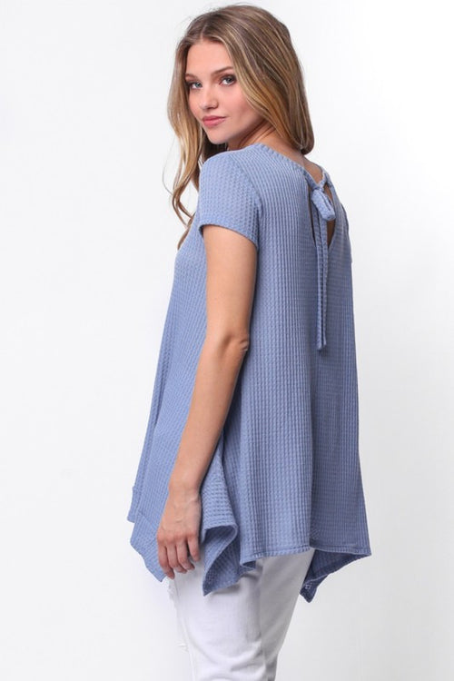 Lucy Waffle Knit Top in Dusty Blue